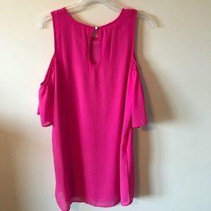 Francesca's Collections Dresses - Francesca's Pink Cold Shoulder Dress